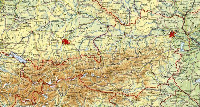 Фізична карта Австрії