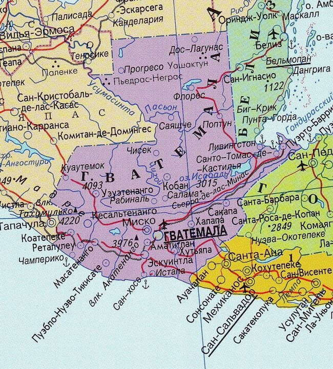 Географічна карта Гватемали