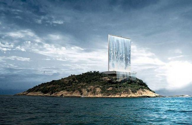 Штучний водоспад «вежа сонячного міста» (бразилія)