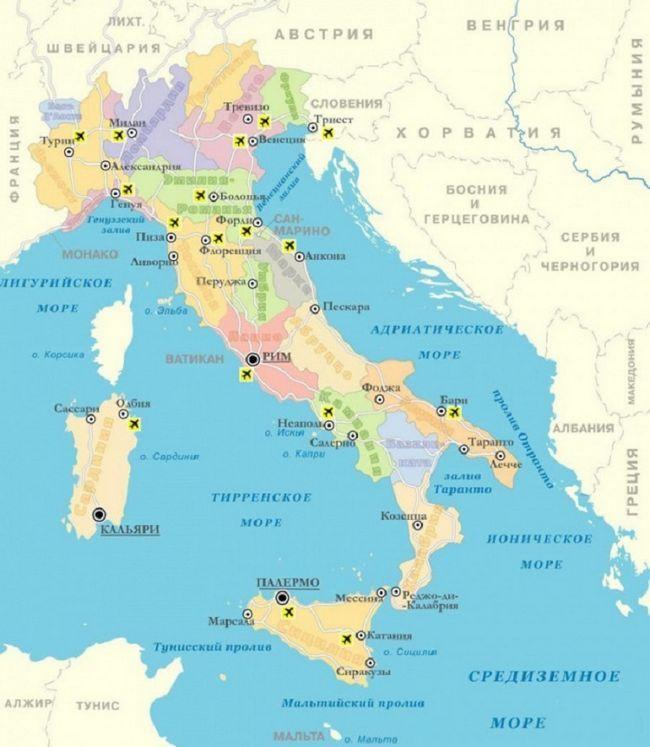 Італія: детальна карта з містами і курортами російською мовою