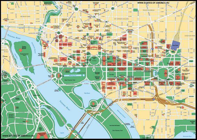 Карта федерального округу колумбия. Детальна карта міста вашингтон.