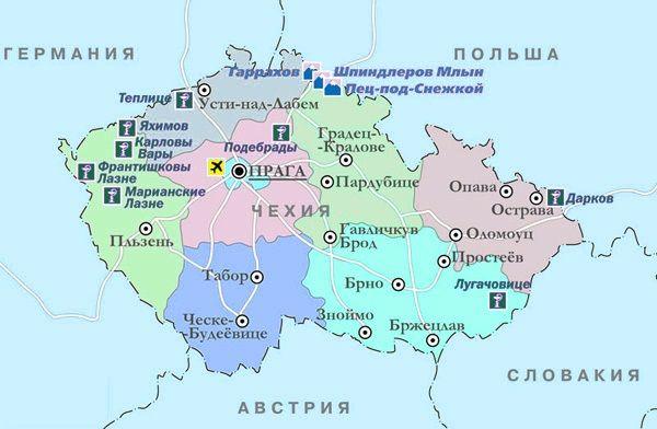 Гірськолижні курорти Чехії на мапі