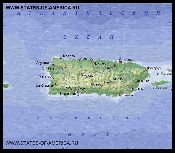Карта пуерто-рико