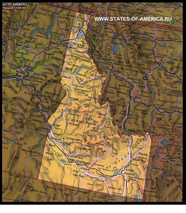 Фізична карта Айдахо
