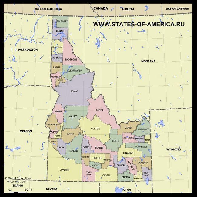 Карта Айдахо по округах