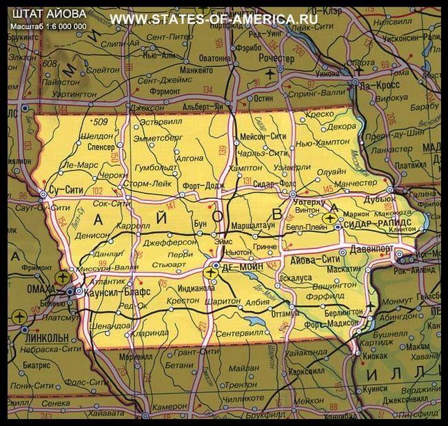 карта Айови
