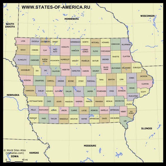 Карта Айови по округах