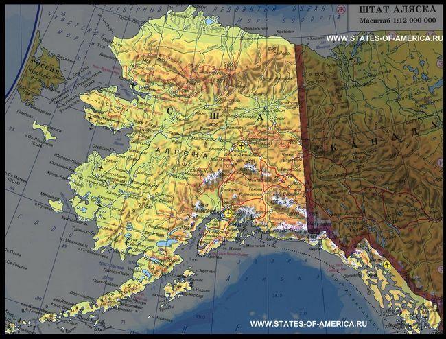Карта штату аляска