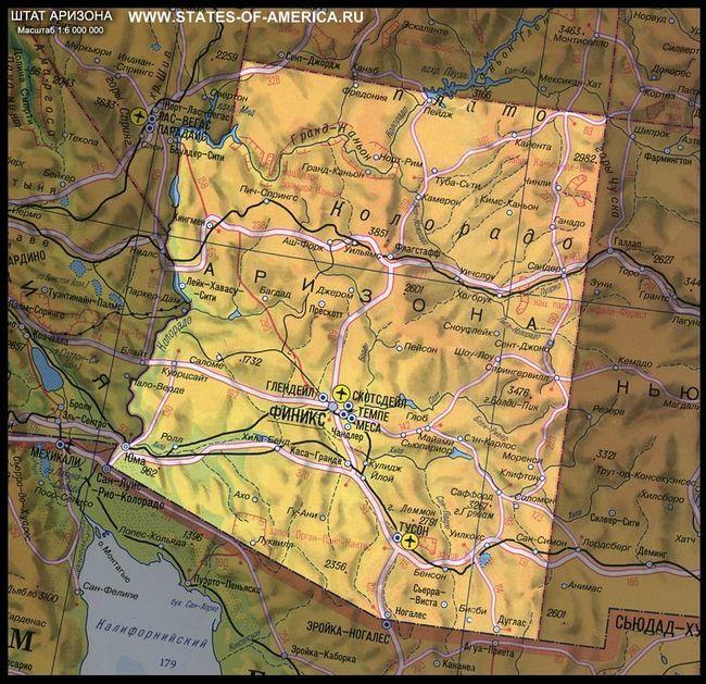 Карта штату арізона