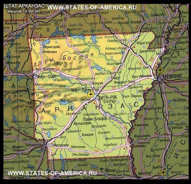 Карта штату арканзас