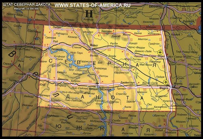 Карта штату північна дакота
