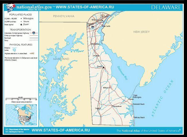 Карта доріг Делавера
