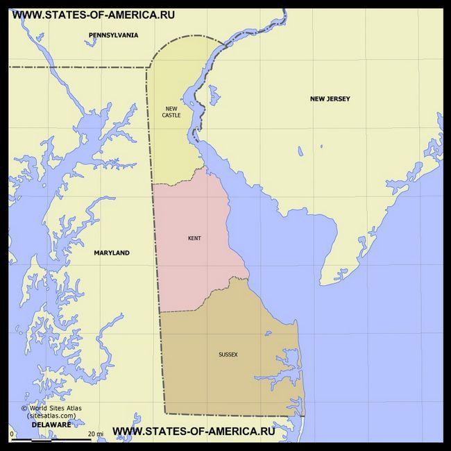 Карта Делавера по округах