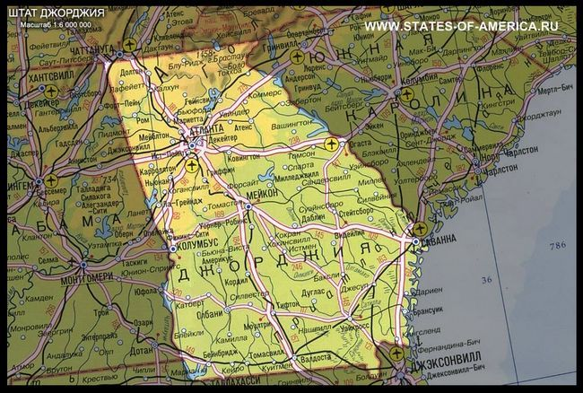 Карта штату джорджія