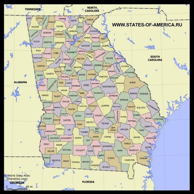 Карта Джорджії по округах
