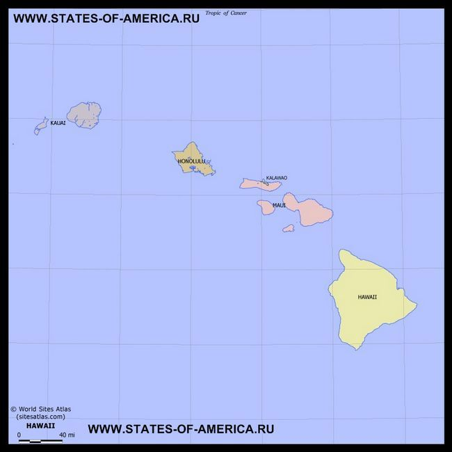 Карта штату Гаваї по округах