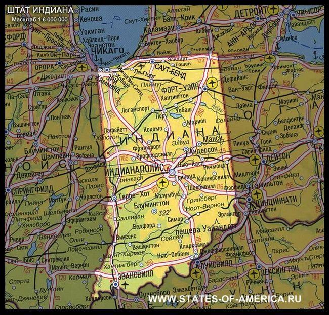 Карта штату индиана