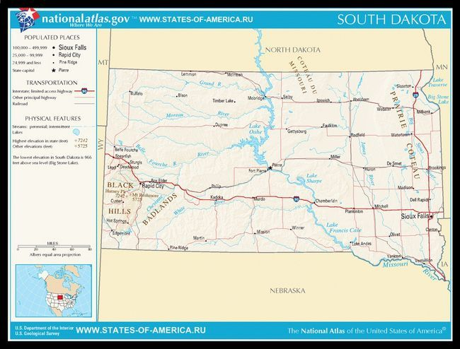 Карта доріг Південної Дакоти