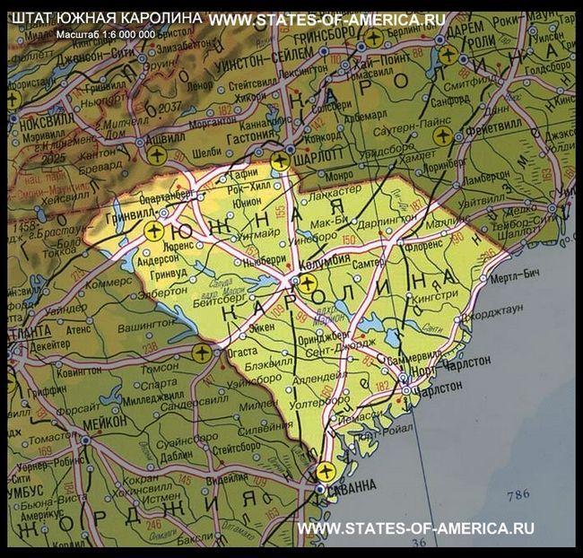 Карта штату південна каролина