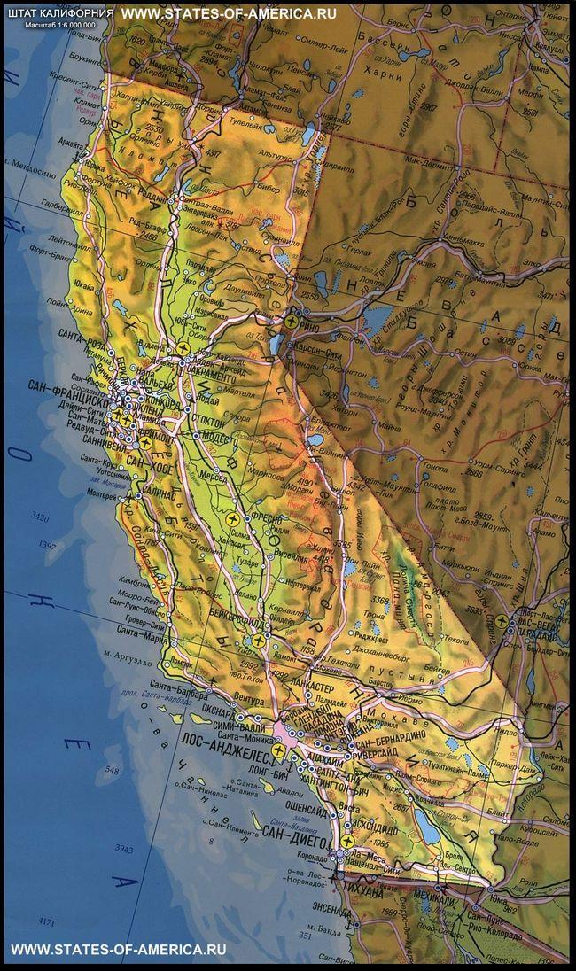 Карта штату каліфорнія