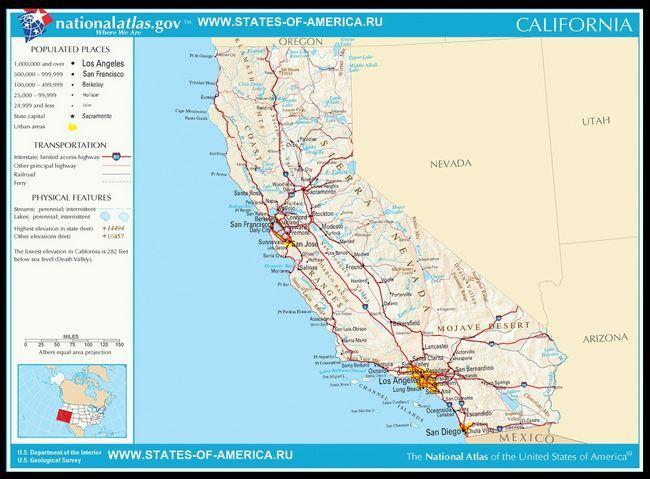 Карта доріг Каліфорнії