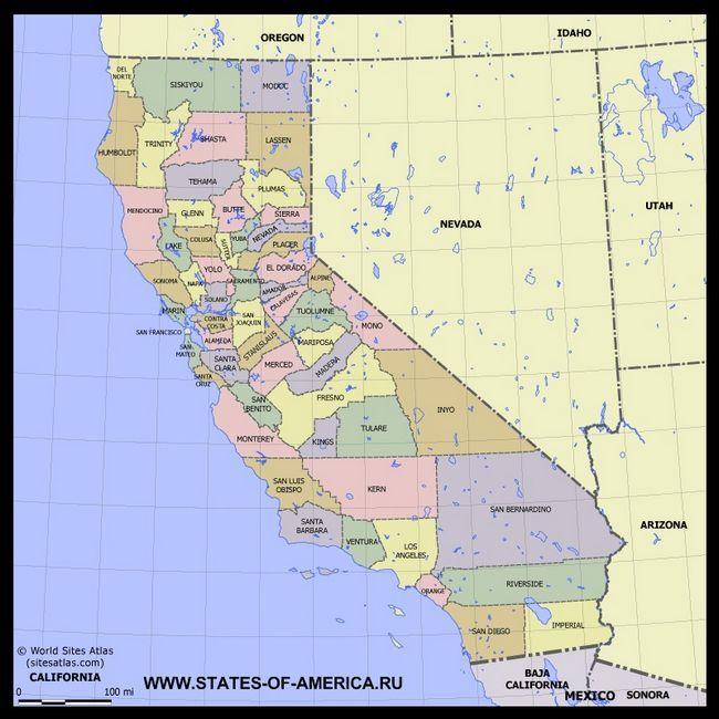Карта Каліфорнії по округах