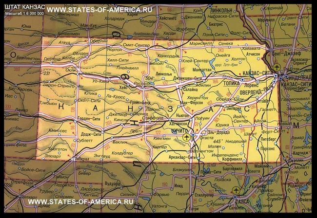Карта штату канзас