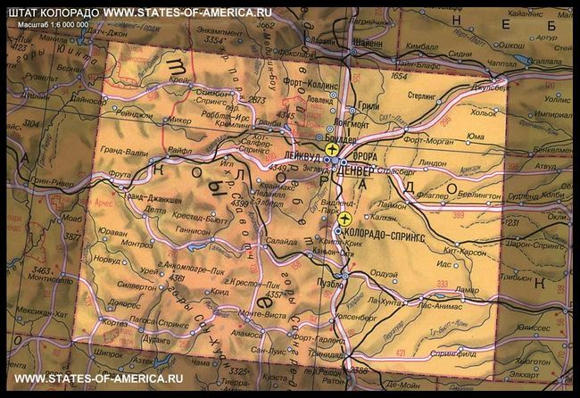 карта Колорадо