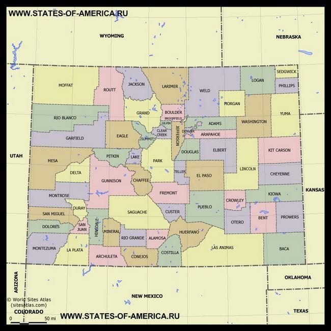 Карта Колорадо по округах