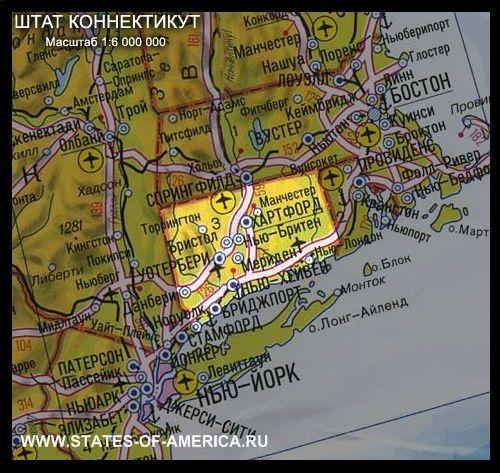 Карта штату коннектикут