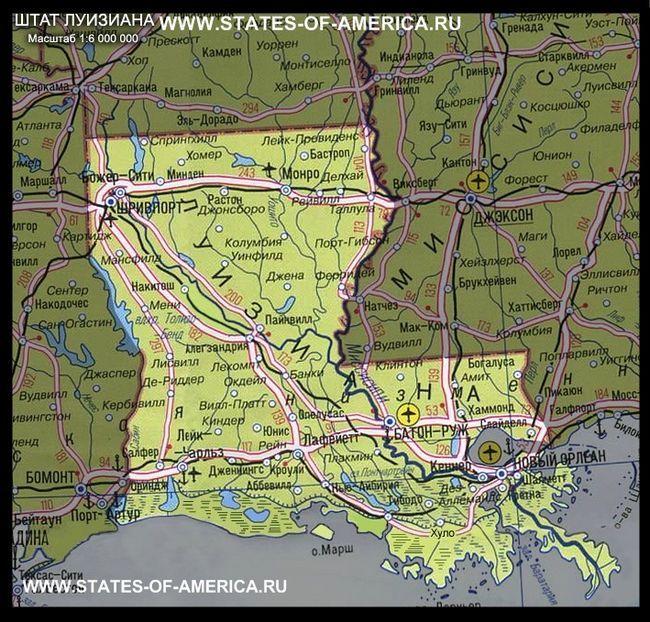 Карта штату луїзіана