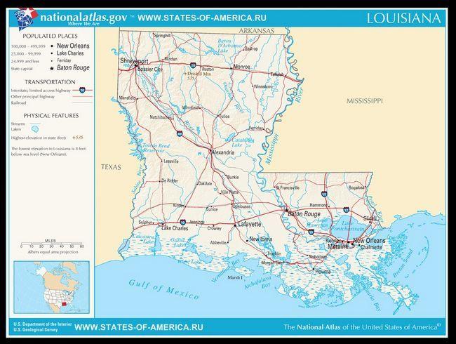 Карта доріг Луїзіани