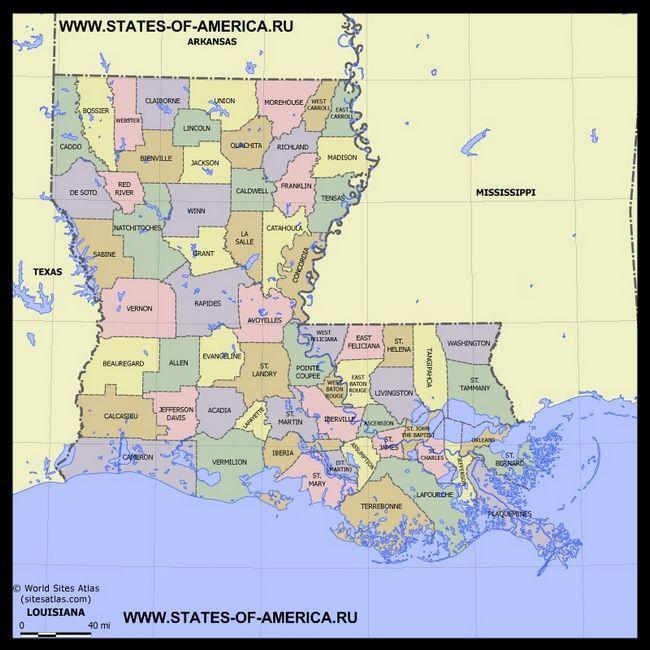 Карта Луїзіани по округах