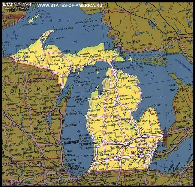 Карта штату мічиган