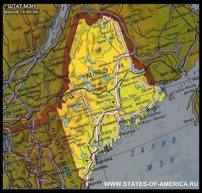 Карта штату мен (мен)