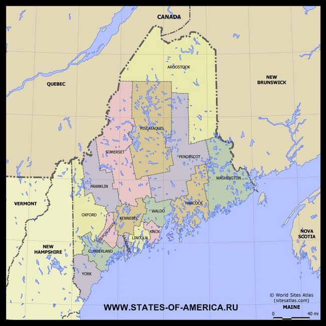 Карта Мена (Мена) по округах
