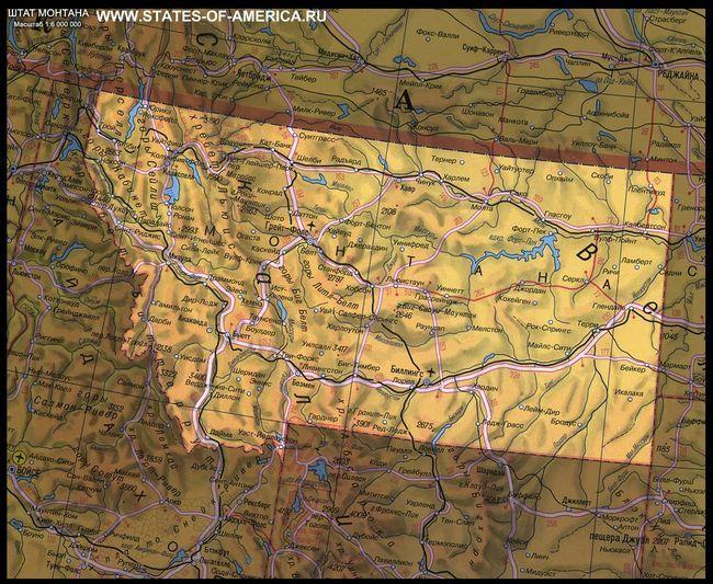 Карта штату монтана