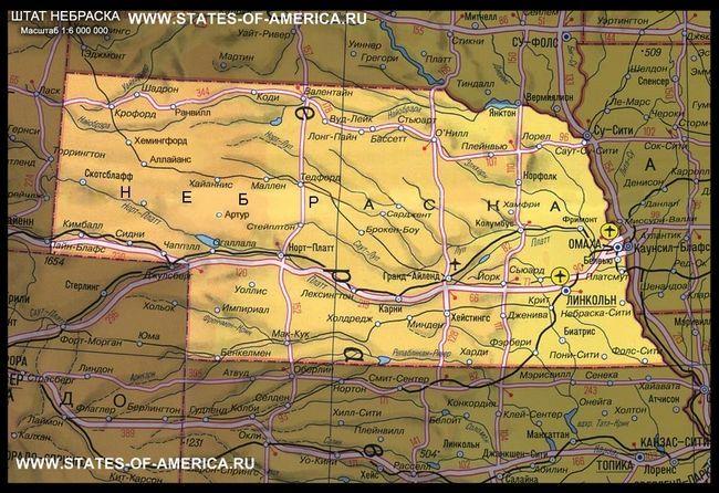 Карта штату небраска
