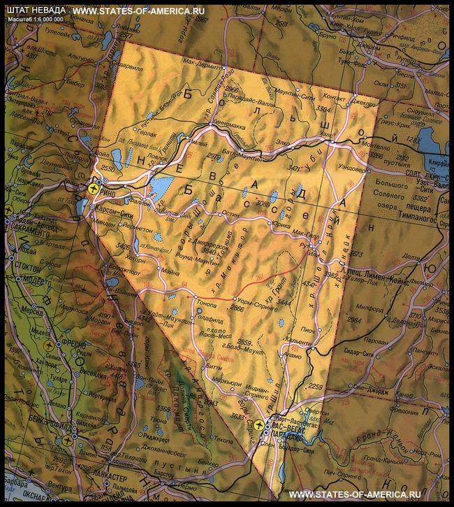 Карта штату невада