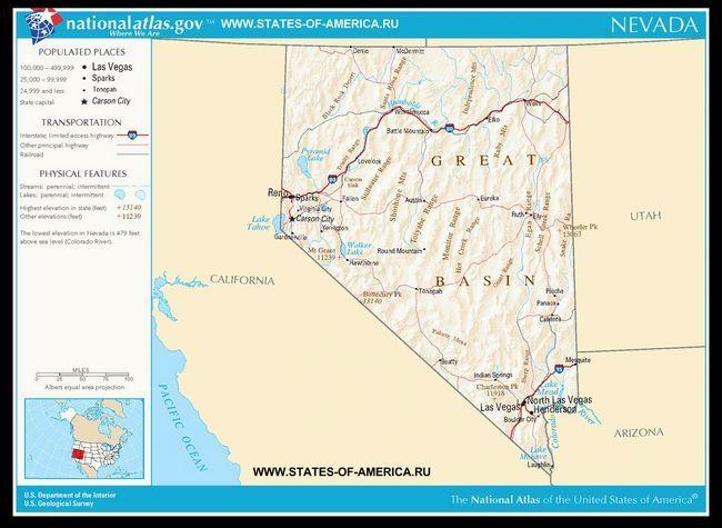 Карта доріг Невади