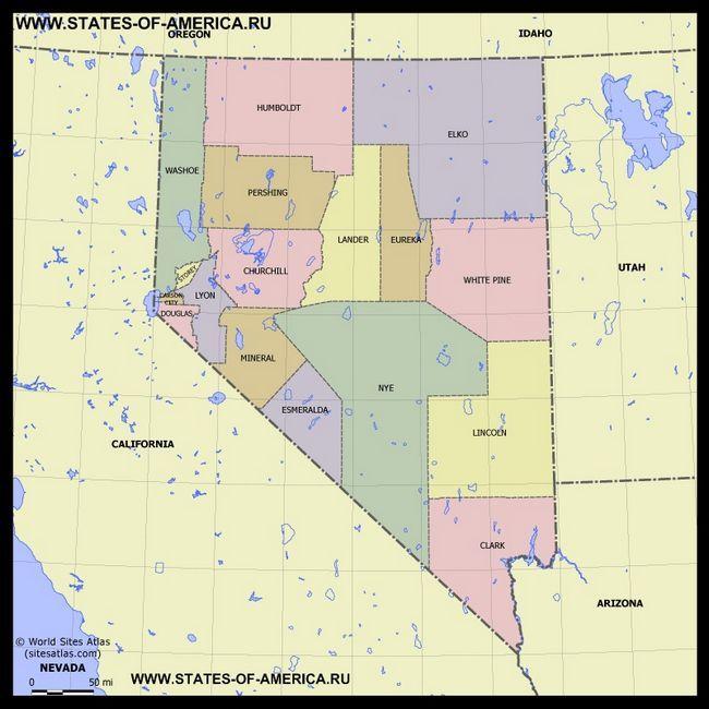 Карта Невади по округах