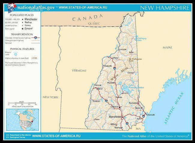 Карта доріг Нью-Гемпшира