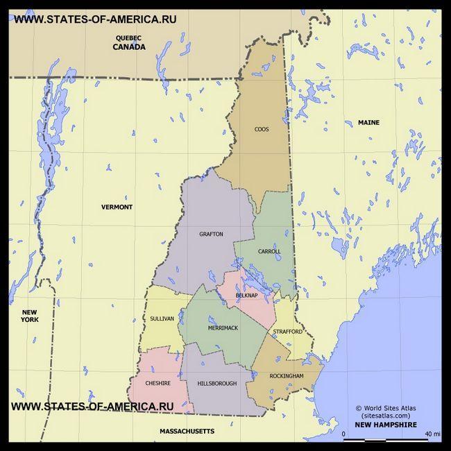 Карта Нью-Гемпшира по округах
