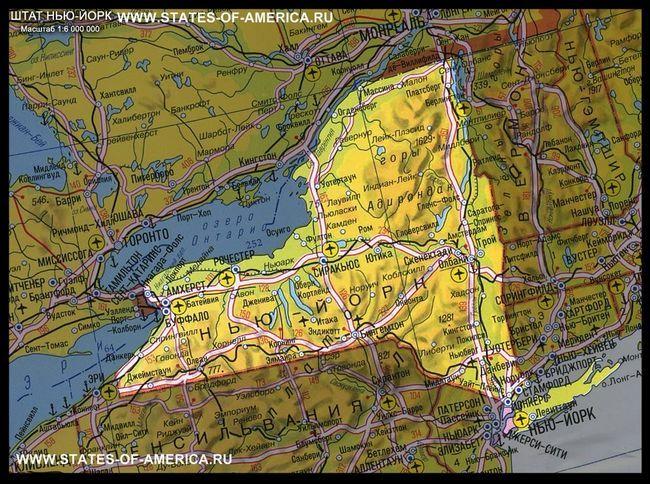 Карта штату нью-йорк