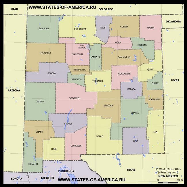 Карта Нью-Мексико по округах