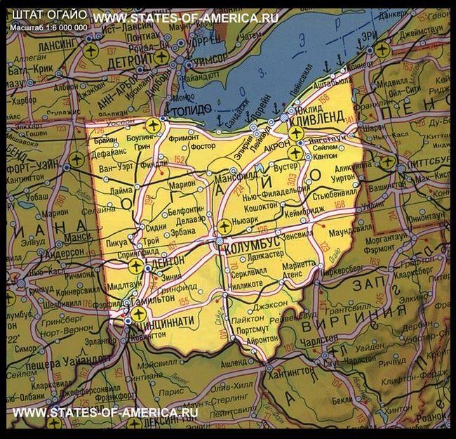 Карта штату огайо