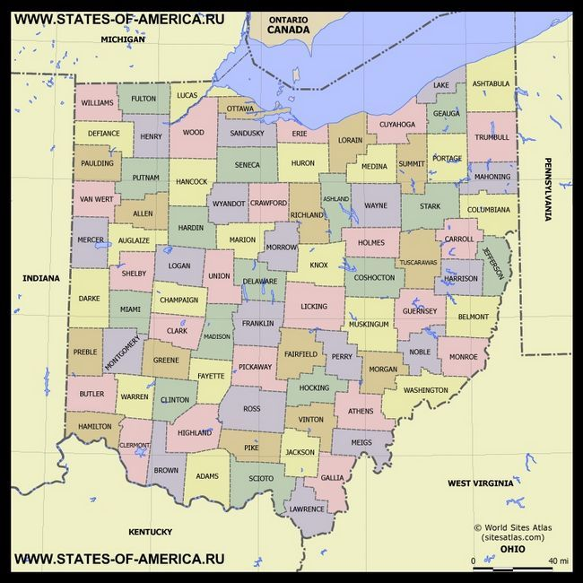 Карта Огайо по округах