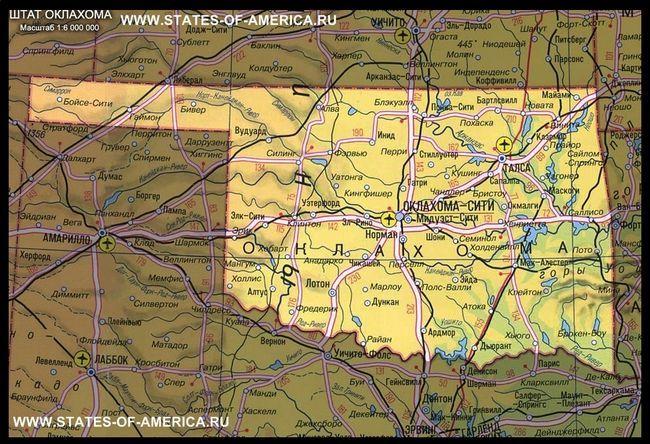 карта Оклахоми