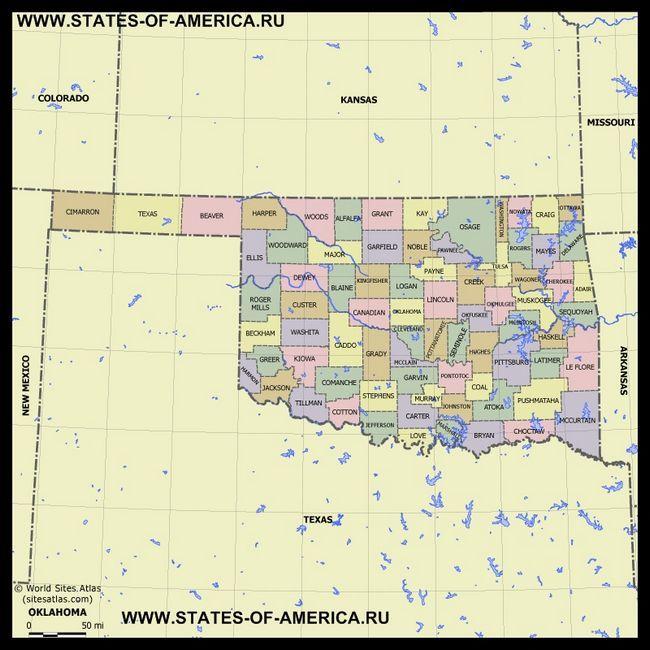 Карта Оклахоми по округах