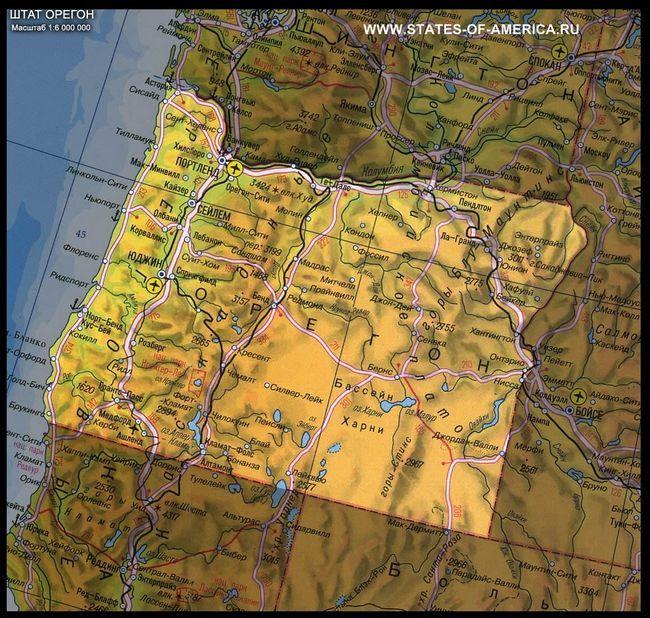 Карта штату орегон
